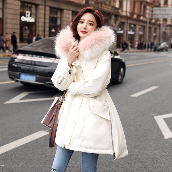 Winter Jacket Women Down Coat Female 2018 Large Real Raccoon Fur Collar Hooded Duck Down Parka Outwear For Women's Winter Jacket