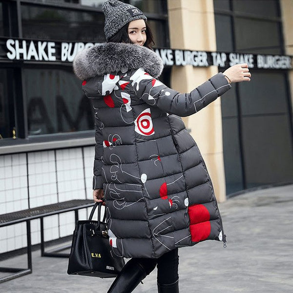 Winter Women Two Sides Wear Print Jacket Coat 2018 New Slim Plus Size Fur Collar Long Parkas Female Warm Winter Thick Outwear