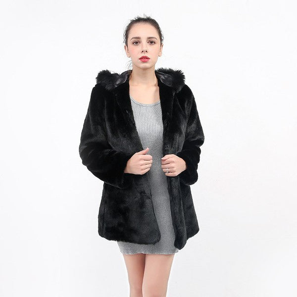 Winter Women's New Hooded Faux Fur Coat Jacket Thick Warm Coat Coat Women's Fluffy Fox Fur Jacket Pure Black Large Size S-xxl