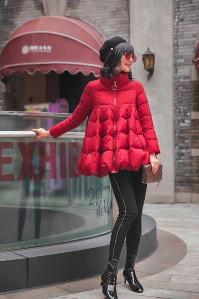 Winter new coat women's clothing large size Thick warm Skirt Down jacket Red Black High quality white duck down