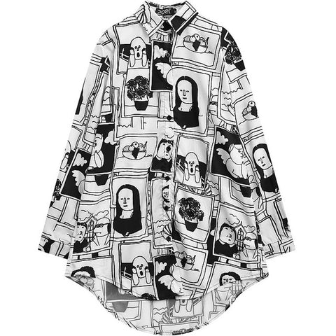 Women Blouse 2020 Lazy Oaf Style Pattern Print Plus Size Shirt for Female Fashion Cute Chiffon Casual Long Sleeve Oversized Top