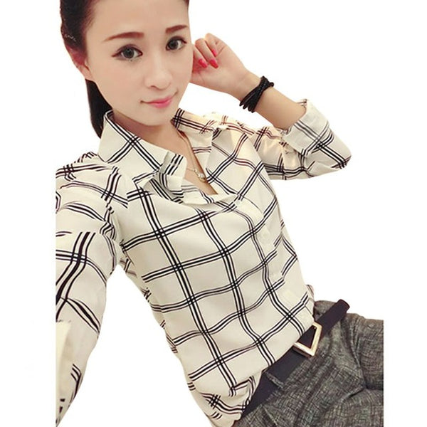 Women Career Office Ladies Shirt Casual Plaids Long Sleeve Blouses Fitted Tops