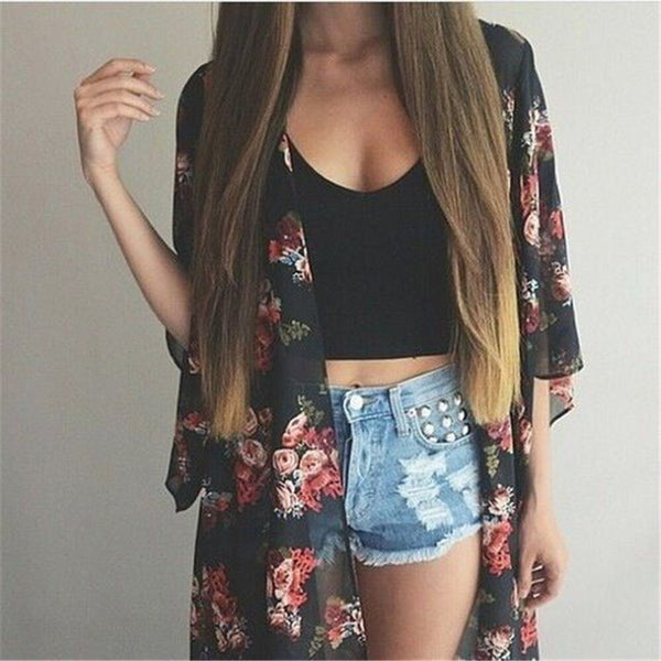 Women Casual Vintage Kimono Cardigan Ladies 2020 Summer Long Crochet Chiffon Kimono preto Loose flora printed Blouse Tops Black