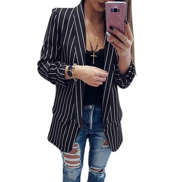 Women Formal Jackets Office Lady Open Front Ladies Blazer Coat Spring Autumn Long Sleeve Slim Fit Fashion Casual Blazers