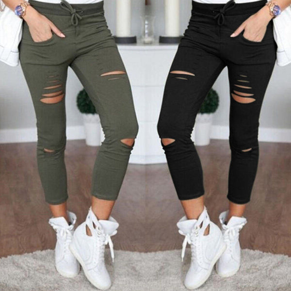 Women Lady's Leggings Pants Stretchy Faded Ripped Jeggings Female Low Waist  Trousers Ninth Pants Oversize  2017