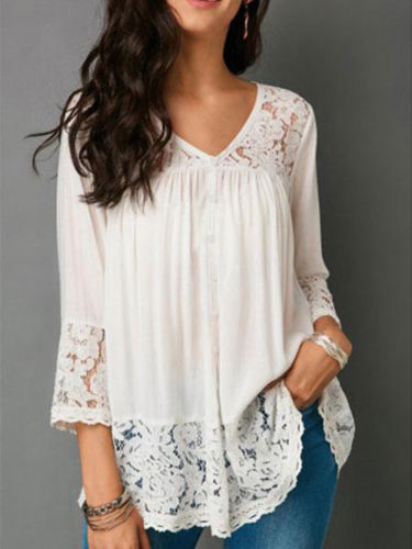 Women Long Sleeve Blouse Top Ladies V Neck Loose Shirt Plus Size Women Lace Blouses Summer Clothing