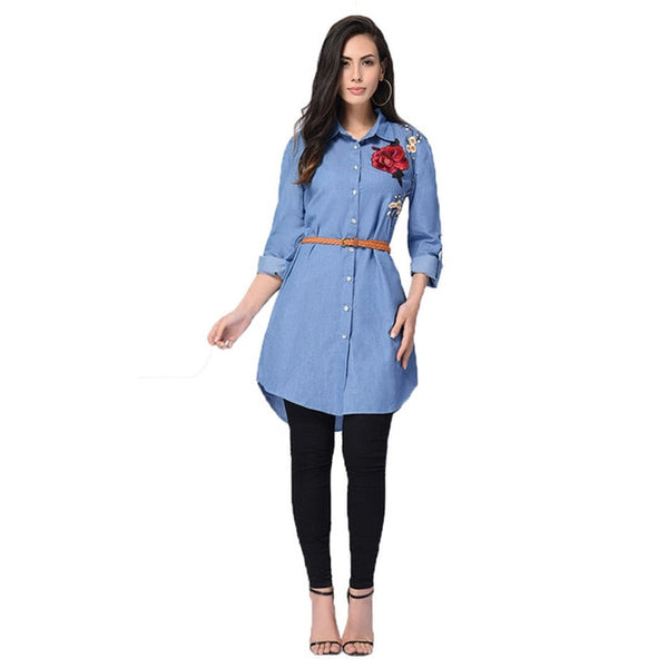 Women New Fashion Embroidery Denim Shirt Female Floral Jeans Blouse Long Sleeve Office Ladies Casual Blusa Tops