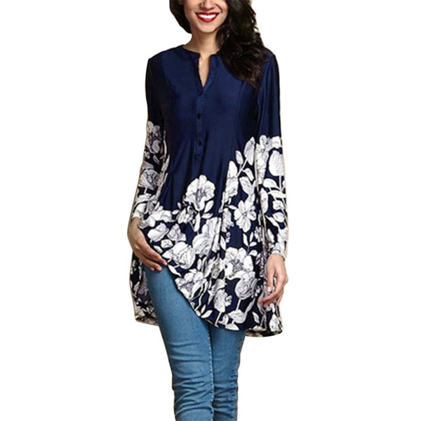 Women Plus Size 5XL Floral Print V-Neck Fashion Long Sleeve Button Long Shirt Bohemian style ladies blouses blusa feminina
