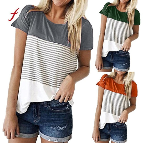 Women Short Sleeve Triple Hit Color Block Stripe Splice Patckwrok Plus Size T-shirt Casual Female Girls Large Casual Clothes