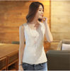 Women Sleeveless Blouse Summer Chiffon Lace Top Blusas Female Clothing New White Blouses Shirts Plus Size S-6XL