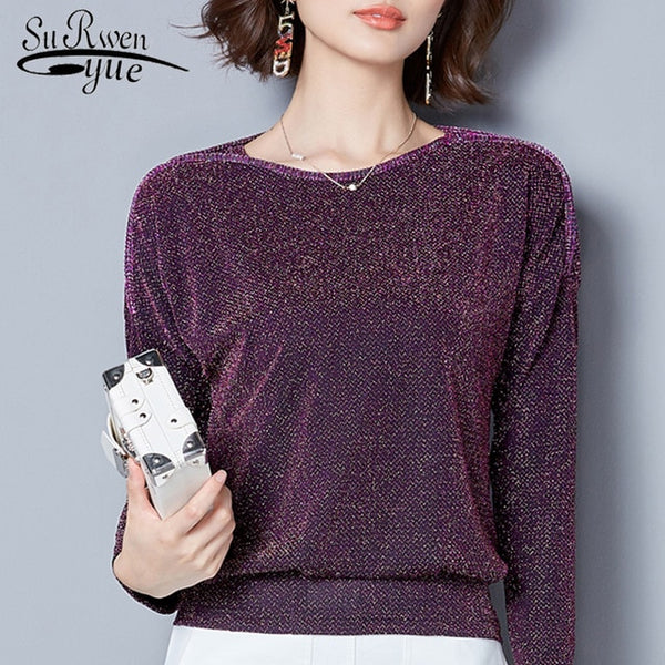 Women Tops 2018 fashion long sleeve women blouse shirt Loose plus size lace Blouse purple blue women's clothing blusas  83J 30