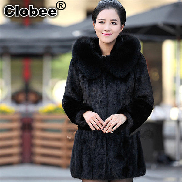 Women Winter Hooded Fake Fur Coats Plus Size Vintage Artificial Black Faux Fox Fur Coat With Hood Big Size 002