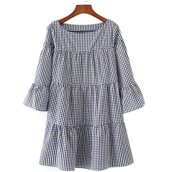 Women oversized pleated plaid dress summer elegant checkered flare sleeve loose casual sweet dresses vestidos women clothes