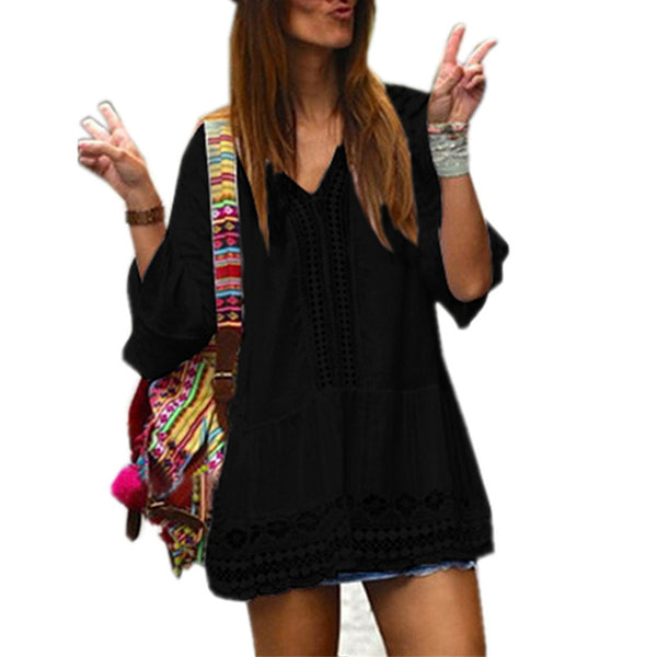 Womens Boho Summer Dress 2020 Sexy Deep V-neck Bell Sleeve Hollow Lace Crochet Casual Loose Mini Dresses Ladies Beach Vestidos