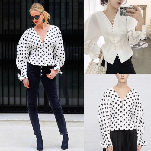 Womens Vintage Early Autumn Blouse 2020 New Fashion Dot/Solid Lantern Long Sleeve V-Neck Button Shirt Tunic Tops Loose Size S-XL