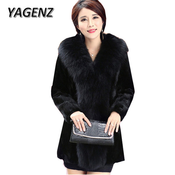 2017 New Winter Faux Fox Fur Collar Lady Fur Coat Jacket Elegant Slim Medium Long Winter Thick  Black Women Fur Coats 5XL