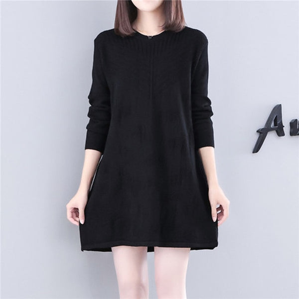 women black long sleeve sweater dress winter oversize plus size ...