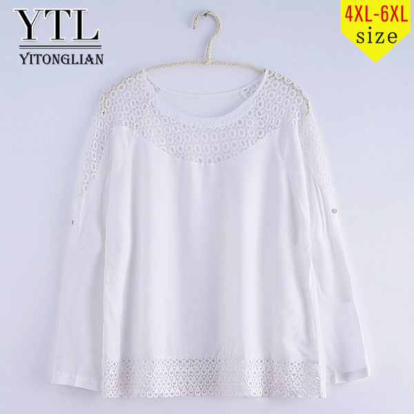 Oversized Women Clothes Neck Lace Hollow Out Dot Appliques Sleeve Loose White Quality Blouse Summer 5XL Big Size Tops