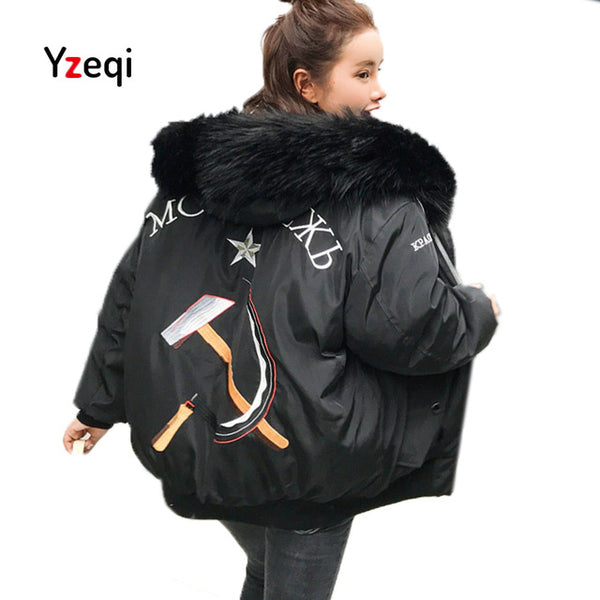 Yzeqi Winter Jacket Women Thick Warm Hood Padded Parka 2018 Fashion Loose Plus Size Overcoat Snow Wear Thick Jacket Coat Female