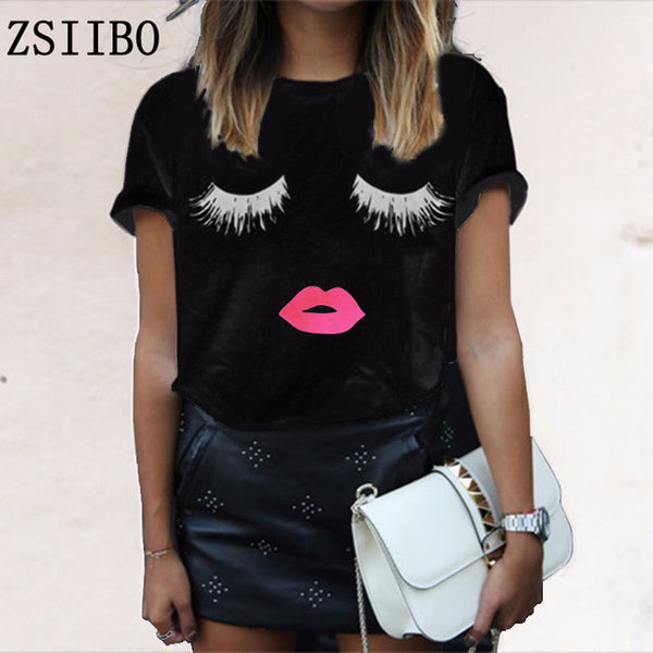 Women T-Shirt White Round Neck Short Sleeve Summer Top Cute Eyelashes Lip Prints Femininas Blusas Size S-2XL top tee