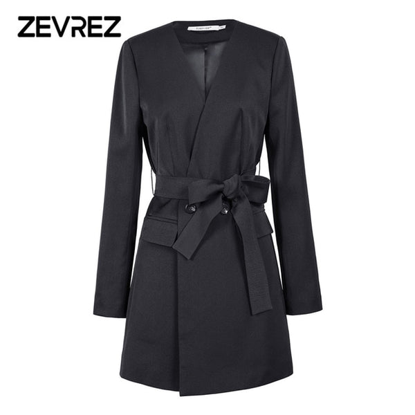 Zevrez Black Blazer Women Work Office Slim Suit Blazer Female Jacket Long Sleeve Business Autumn Blazer Coat Plus Size 5XL