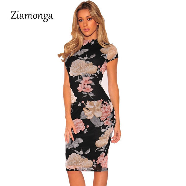 Plus Size Dress 2020 Sexy Party Dress Black Floral Print Knee Length Pencil Midi Dress Sexy Bodycon Women Dress