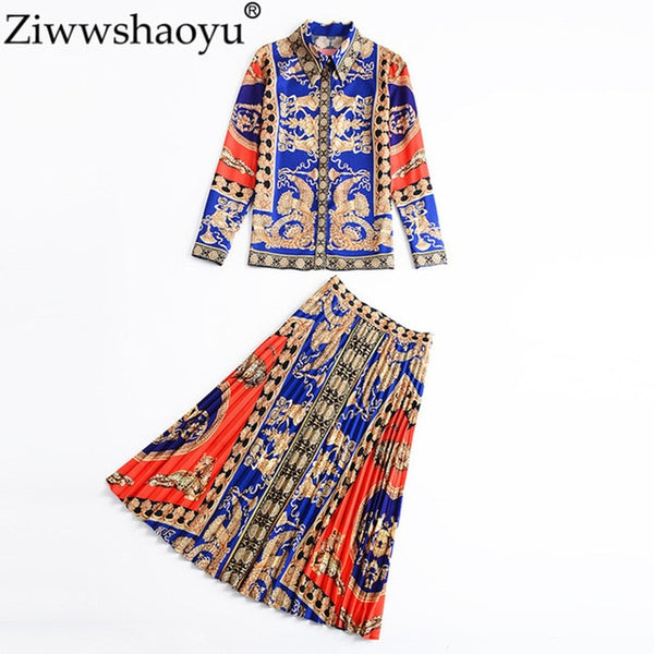 2020 Designer Runway Suits Set Women's Long Sleeve High Quality Print Blouse And Pleated Long Skirt Two Piece Set