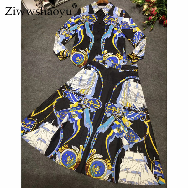Spring Designer Set Suit Women's Long Sleeve Turn Down Collar Baroque Printed Shirt With Knee Length Skirt Suit