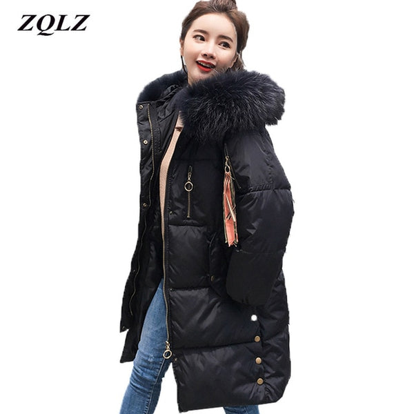 Zqlz 2020 New Black Cotton Padded Winter Long Jacket Women Coat Plus Size Loose Fur Collar Hooded Parka Mujer Winter Coats