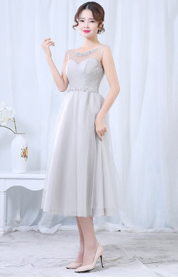 Blush Tea Length Homecoming Ball Gown Dress Formal Girls Sweet 15