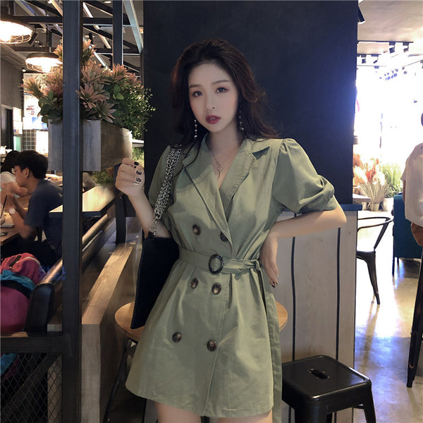 double-breasted suit 2018 New Summer Women A line Casual half Sleeve Dresses Female Dress Solid Khaki Green dress