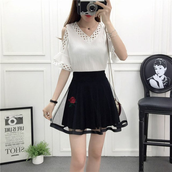 lace v-neck korean fashion student 2020 summer mesh skirt girl suits skirts two-piece suit clothing set lady vestido design
