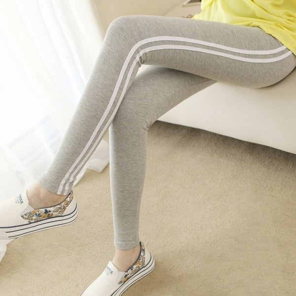 lady casual cotton blended slim pencil leggings fashion striple skinny pants home style ankle length legging gray blue black