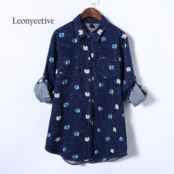 oversize 2017 summer autumn big size Women long Shirt Cotton  cat Blouses Style Clothing  Full Sleeve Ladies Shirts plus size
