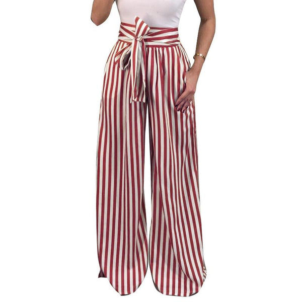 Women Casual Pants Loose High Waist Thin Wide Leg Pants Stripe Bow Tie Belt Bottom Pant Oversized WS4032C
