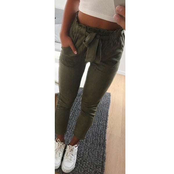 Casual Women Pencil Pants Solid High Waist Elastic Trousers Office Slim Pockets Pant Female With Belt