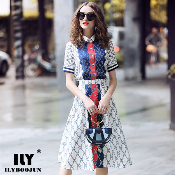 runway designers High Quality brandFashion 2020 clothes summer suits for women 2 piece set plaid short-sleeve shirt + skirts