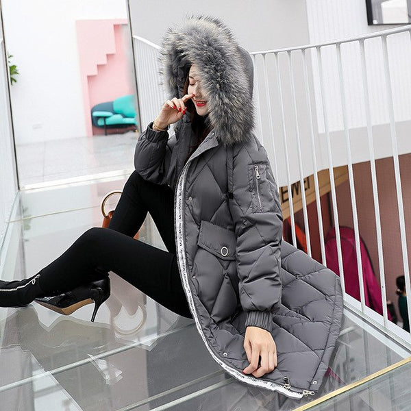 snow wear 2020 medium-long thick winter coat women fashion big fur collar winter down jacket women plus size warm parka female
