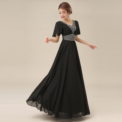 women 2020 new arrive v neck red carpet evening dresses plus size formal dress from the chiffon with cap sleeves H2258
