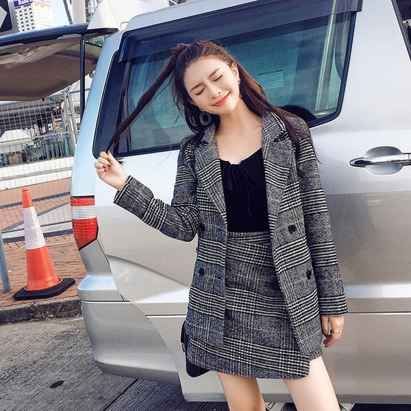 women blazer top A word skirt winter new grid woolen cloth coat two-piece suit korean fashion coat skirts clothing set costume