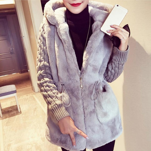 women winter Spring coat wadded jacket medium-long plus size patchwork fur thickening hood abrigos female hooded snow wear