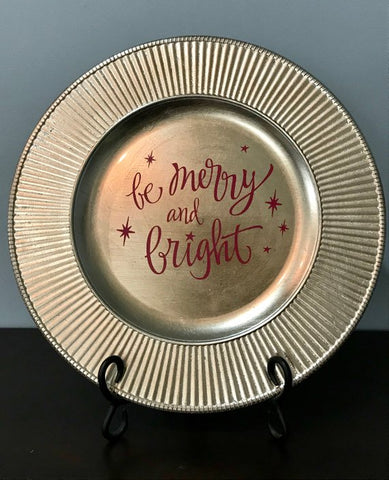"""Be Merry and Bright"" Golden Christmas Charger Plate"