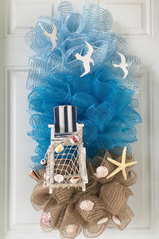 """Sand & Shells"" Deco-mesh Beach House Summer Wreath"