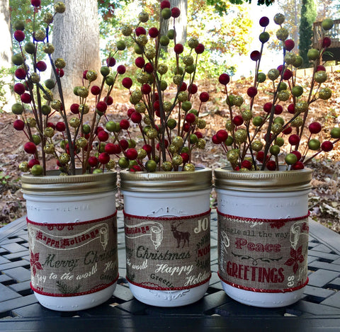 Rustic Christmas Wide Mouth Mason Jars Wedding Decor