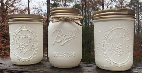 Rustic Mason Jar Set, Farm House Decor, Wedding, Gift, Chic Decor, Home Decor, Mason Jars