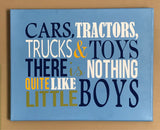 Little Boy Tractors and Trucks Wall Art