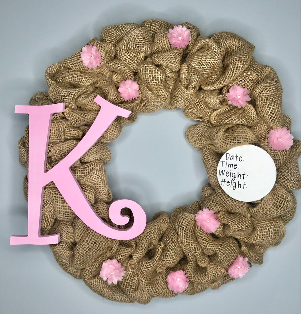 Baby Girl Birth Announcement Hospital Door Wreath Erika Shae