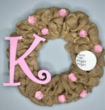 Baby Girl Birth Announcement Hospital Door Wreath