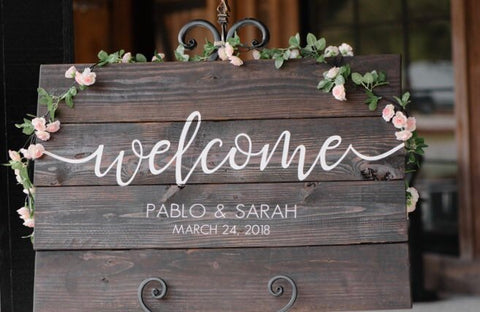 """Welcome"" Wedding Decor Wood Pallet Sign"