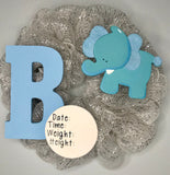Baby Boy Birth Announcement Hospital Door Wreath